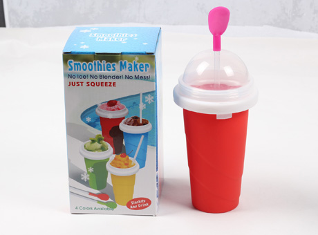 SW-SC-01 350ml PP magic ice maker cup with straw and spoon